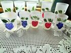 FEDERAL GLASS Hand Painted With Fruits Frosted Glassware 10 Various Size Glasses