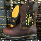 MENS WORK BOOTS GENUINE LEATHER BROWN COLOR OIL RESISTANT COWBOY PULL ON BOOTS