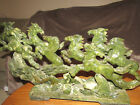 sculpture JADE  green colors 8 HORSES MOUNTAIN running stone carving figurines