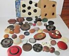 NICE lot of Antique Buttons Wood Leather Glass?  Cloth Fabric MUST SEE!!!