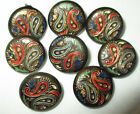 PAINTED METAL BUTTONS w PAISLEY DESIGN