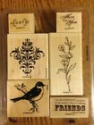 Retired Stampin Up FRIENDS 24 7 set of 6 birds flowers