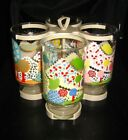 4 VTG Anchor Hocking Seasonal FLORAL DRINKING GLASSES, SIGNED PAT AU w/Holder
