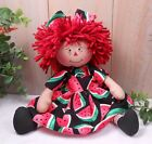 Primitive Raggedy Ann Art Doll Watermelon Summer Farmhouse Decor Handcrafted
