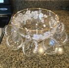 VTG Clear Glass Punch Bowl Set With White Leaves And Gold Trim, 10 Cups