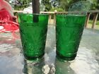 7 Emerald Green Forest Green Anchor Hocking Oatmeal Sandwich Juice Glass 3 1/2