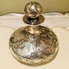 "'"" Antique Art Nouveau Vintage Perfume Decanter Bottle Silver Overlay"