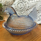 Beautiful Light Blue Vintage Indiana Glass Hen on Nest