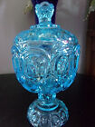 L.E Smith Colonial Blue Moon and Stars Lidded Compote 8