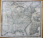 Colton's Map of United States Canadas Railroads Canals Stage/New York 1855/RARE