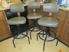 3 VINTAGE Bar SHOP Stools Industrial BASE CUSHIONED SWIVEL HARVARD INTERIORS '74