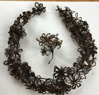 Antique Victorian Mourning Hair Wreath + corsage not framed 33