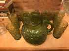 Anchor Hocking Lindo Milano Green Ball Pitcher With Ice Lip  and Seven Tumblers