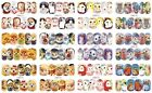 12 Sheets Nail Art Water Transfer Decal Stickers Cat Owl BN721-732