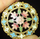 ANTIQUE FRENCH BUTTON - PINK BLUE WHITE PIERCED CHAMPLEVE ENAMEL FLOWER DESIGN