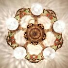 276b Vintage 20s 30s Ceiling Light fixture art nouveau chandelier 5 light 1 0f 2