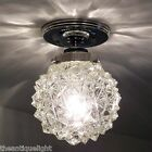 773 Vintage Ceiling Light Lamp Fixture Glass  mid century mod retro bath hall