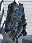 Aztec Ponho Blanket Shawl One Sz 52x60 Chevron Green Black Multi Warm Knit NWT