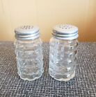 Vintage 1950s Anchor Hocking Glass Salt and Pepper Shakers with Aluminum Lids