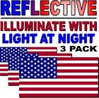 REFLECTIVE American Flag USA PACK OF 3 Decal Sticker 3M Military Marines Army