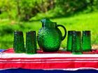 Anchor Hocking Glass Pitcher and Tumbler Set Milano Forest Green Vintage NOS
