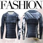 4E9F83D 3D Winter Soldier Compression Long Sleeve Casual Fitness T Shirts Tight