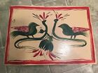 VINTAGE WOOD SMALL FOOT STOOL HAND PAINTED WOODEN STEP STOOL