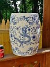 LARGE ANTIQUE CHINESE PORCELAIN BLUE AND WHITE GARDEN SEAT STOOL DRAGON BIRD