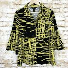 Ali Miles Womens Black Yellow Print Button Front Bell Sleeve Peplum Top Size PM