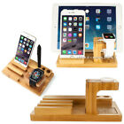 For A pple Watch i Pad i Phone 8 Plus Bamboo Charging Dock Station Stand Holder