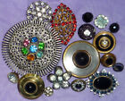 Antique Vintage Tint Open Work Glass Rhinestone Metal Buttons Lot