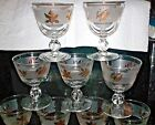 14 VTG LIBBEY GLASS GOLDEN FOLIAGE LIQUOR COCKTAIL 4oz STEMS GOLD on FROST BAND