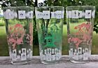 3 Vtg Hazel Atlas Glass Tumblers Native American Indian Knight Children Fantasy