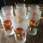 Culver 22k Gold Christmas Bear Frosted Glass Lot of 7 with Various Scenes