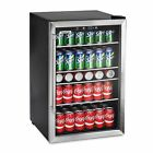 126 Can Beverage Center, Stainless Steel Glass Door Beer, Wine Soda Drink Fridge