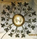 Vintage Mid Century Modern Metal Maple Leaves Wall Sculpture with Electric Clock