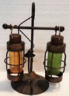 VINTAGE NAUTICAL HANGING LANTERN SALT AND PEPPER SHAKERS ON METAL ANCHOR STAND