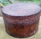 Antique Pyrography Box Trinket Stud Box Bamboo Signed 1904 2.5