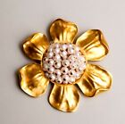 """ Golden Sunflower Faux Pearl Brooch Pin"