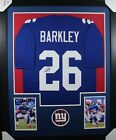 SAQUON BARKLEY (New York Giants) Signed Autographed Framed Jersey w JSA COA