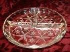 3 Vintage Clear Pressed Glass Serving Dishes Raised Divided Sections Starburst
