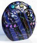 Dichroic Fused Art Glass SKULL Paperweight Free Standing Signed Free Gift Bag