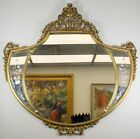 ANTIQUE GOLD TONE VICTORIAN WOOD FLORAL FLOWER WALL HANGING MIRROR - HOME DECOR