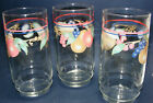 3 vintage 16oz CLEAR TUMBLERS drinking glasses ADORNED with FRUIT colorful