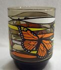 Retro Mid Century Smoked Glass Drinking Tumbler Monarch BUTTERFLY Orange Short