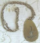 Beautiful Vintage Genuine Pewter Etched Seagull Bird Pendant  Chain