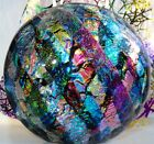 Dichroic Fused Art Glass Half Marble DOME Paperweight Free Standing Signed + BAG