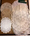 Vintage Hand Crochet Doilies WhiteIvory Ecru Mixed Shapes and Sizes Lot of 9