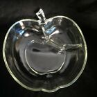 VTG Large Apple Shaped Glass Divided Serving Bowl HAZEL ATLAS Orchard MCM Clear