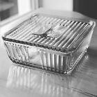 Vintage Anchor Hocking Large Square Clear Glass Ribbed Refrigerator Dish W/ Lid